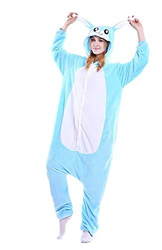 Blau Hase Pyjamas Mädchen Bekleidung Animal Erwachsene Unisex Schlafanzüge Karneval Leistungskleidung Onesies Cosplay Jumpsuits Anime Fasching Masquerade Kostüme Weihnachten Halloween Nachtwäsche