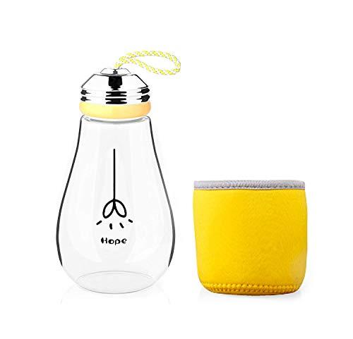 keemanman Creative bombilla taza, taza de té de viaje, diseño de botella de agua de cristal sin BPA con funda de neopreno 13oz