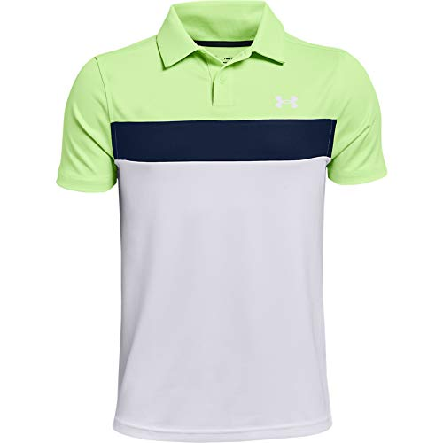 Under Armour Boys' Performance Blocked Golf Polo , Summer Lime (162)/White , Youth Medium