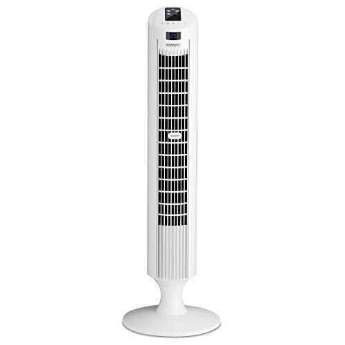 Monzana Turmventilator 90° Oszillationswinkel Fernbedienung 3 Geschwindigkeitsstufen 84cm Timer Turbofunktion weiß