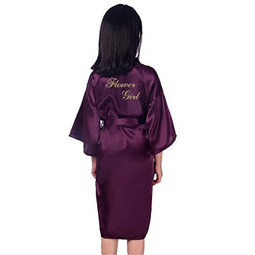 GODGETS Flower Girls Raso Kimono túnicas Boda Dama de Honor Batas Albornoz para niños Ropa de Dormir camisón Morado Oscuro 10