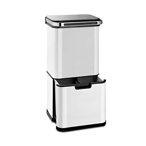 Klarstein Touchless Ultraclean - Cubo de basura con sensor, Volúmen de 60 litros, 3 contenedores, Esterilización por ozono, Elimina 90% de las bacterias, Filtro de olores integrado, Blanco