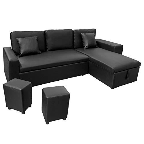Canapé d'angle 3 places Noir