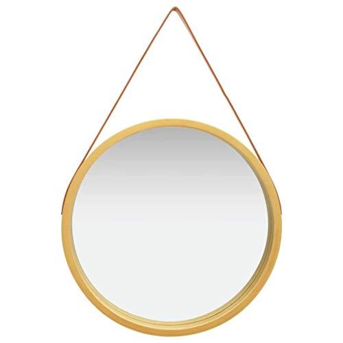 vidaXL Espejo de Pared con Correa Redondo Colgante Armario Baño Antiguo Retro Consumo de Maquillaje Decoración Hogar Sala Dorado 60 cm
