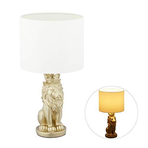 Relaxdays Tischlampe Löwe, Tischleuchte mit Stoffschirm, E27, prunkvolle Nachttischlampe, H x D: 47,5 x 25 cm, weiß/gold, 10032238