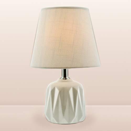 BarcelonaLED Lámpara de mesa nórdica blanca con base de porcelana y pantalla de tela, casquillo para bombilla LED E14 sobremesa escritorio salon mesita de noche