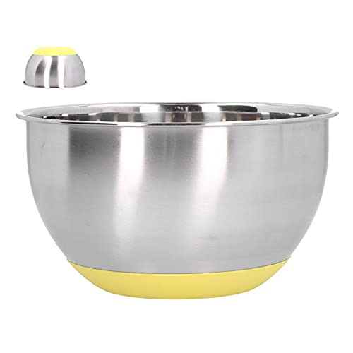 Stainless Steel Mixing Bowl with Silicone Bottom, Egg Beating Bowl with Scale, Polished Mirror Finish Baking Basin for Healthy Meal Mixing and Prepping, Sliver Yellow(3L)