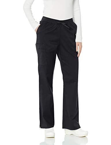 Amazon Essentials Women's Quick-Dry Stretch Loose Fit Scrub Pant, Black, Small