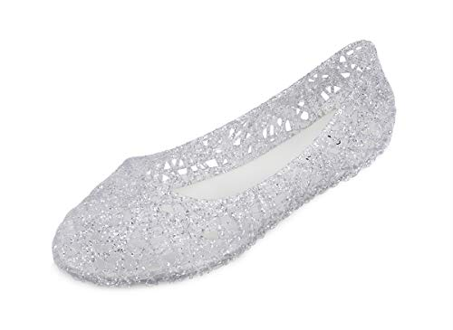 Piqubidu-Womens-Jelly-Flats-Sandals Bird's Nest Glitter Shoes Slip-on White/Silver US Size 6