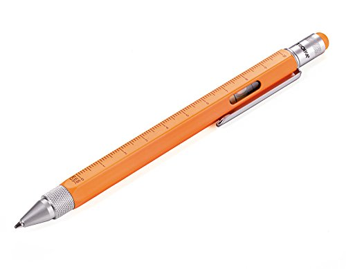 TROIKA CONSTRUCTION Multitasking-Kugelschreiber - PIP20/NO - neonorange - Zentimeter- und Zoll-Lineal - 1:20 m und 1:50 m Skala - Wasserwaage - Schlitz- und Kreuzschraubendreher