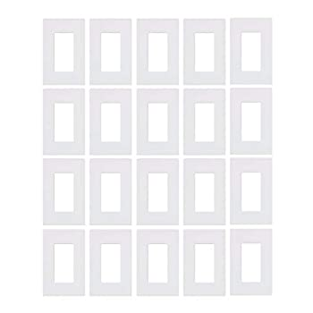 Lutron CW-1-WH 1-Gang Claro Screw-Less Wall Plate White  20 Pack