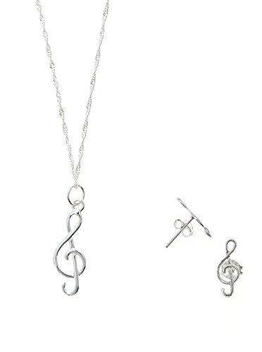 Córdoba Jewels | Conjunto de Gargantilla y Pendientes en Plata de Ley 925. Diseño Clave de Sol