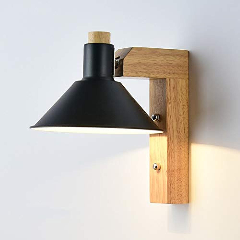 Einstellbare Massivholz-Wandleuchten, Post-moderne LED Eisen-Beleuchtung Hngeleuchte Wandlampen Kreative Schlafzimmer Speisetisch Nachtlesewandleuchte (Farbe   Schwarz)