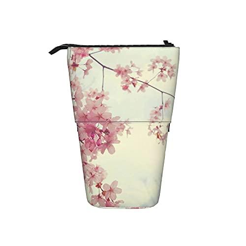Estuche telescópico para lápices Rosa japonés Sakura Estuche para lápices de pie Estuche para cosméticos Estuche para maquillaje Estuche para lápices