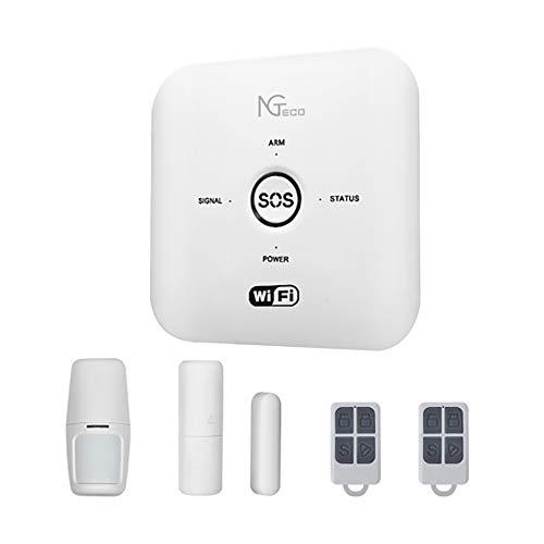 Sistema de Alarma Seguridad Casa -ZKTeco-Kits Alarma WiFi Antirrobo Inalámbrico +2 Mandos a Distancia - Detector- Sensor Movimiento de Puerta- Call SMS App-iOS&Android.