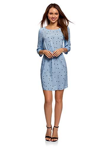 oodji Ultra Damen Viskose-Kleid mit 3/4-Arm, Blau, DE 38 / EU 40 / M