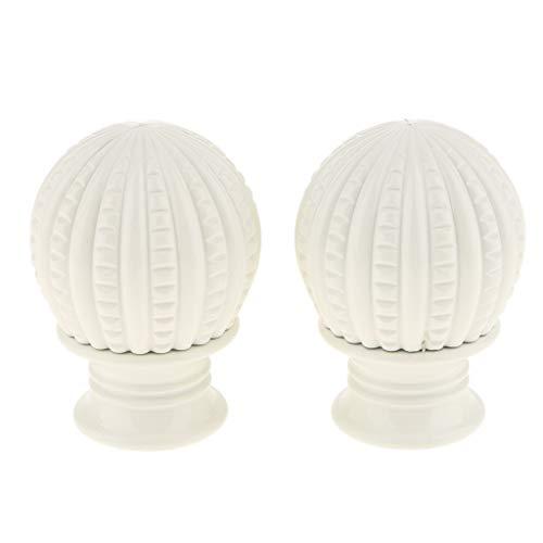 B Blesiya 1 Paar Retro Endstücke Kappe für Gardinenstangen, Durchmesser 28mm - Weiß B