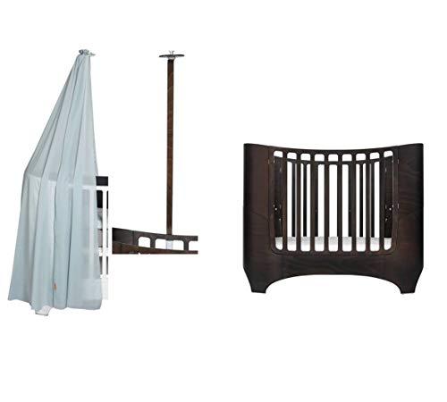Leander Baby- und Kinderbett - walnuss + Himmelgestell in walnuss + Himmel in misty blue