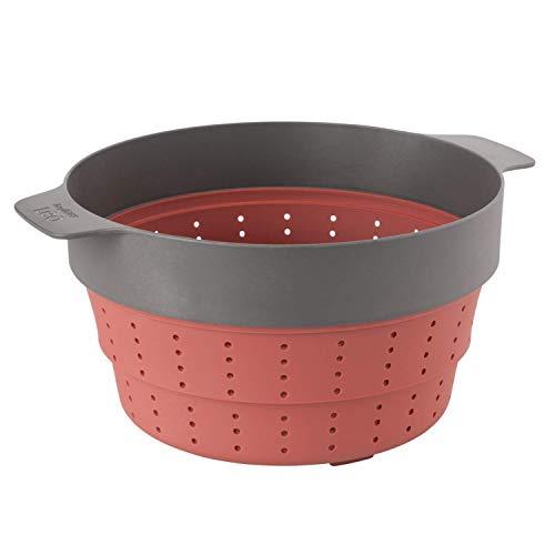 Berghoff 3950152 Cesta de vapor y colador multifuncional plegable de silicona, color rosa y gris