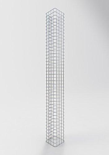GABIONA Säule Steinkorb-Gabione eckig, Maschenweite 5 x 5 cm, Höhe 200 cm, Spiralverschluss, galvanisch verzinkt (22 x 22 cm)