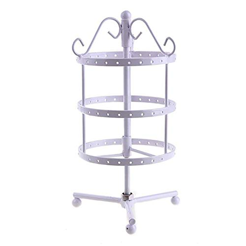 3 Tiers Round Earrings Display Rack Metal Rotating Jewelry Stand Holder for Earrings Necklaces Bracelets(72 Holes),White