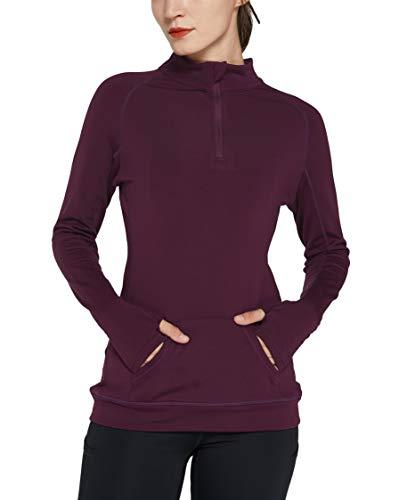Cityoung Women's Yoga Long Sleeves Half Zip Sweatshirt Fleece Athletic Workout Running Track Jacket m fs