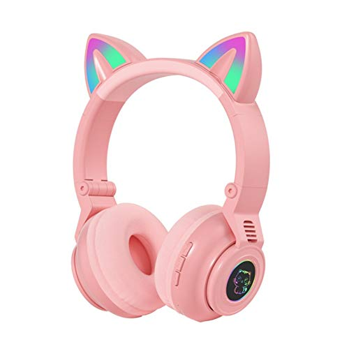 Auriculares inalámbricos para niños con orejas de gato con luz LED para niñas con micrófono, auriculares para escuela, Kindle/tableta/PC en línea Estudio de cumpleaños regalo de Navidad