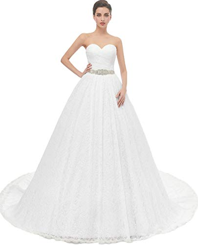Likedpage Women's Ball Gown Lace Bridal Wedding Dresses (US22W, Ivory)