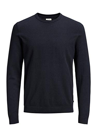 JACK & JONES Jjebasic Knit Crew Neck Noos Felpa, Blu (Navy Blazer), Small Uomo