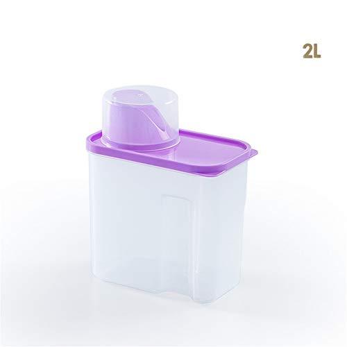 Zxl (1 stks Huishoudelijke transparante overdekte waspoeder container plastic opbergdoos plastic waspoeder opbergdoos opslag put huishoudelijke grootte nummer overdekte waspoeder opbergdoos