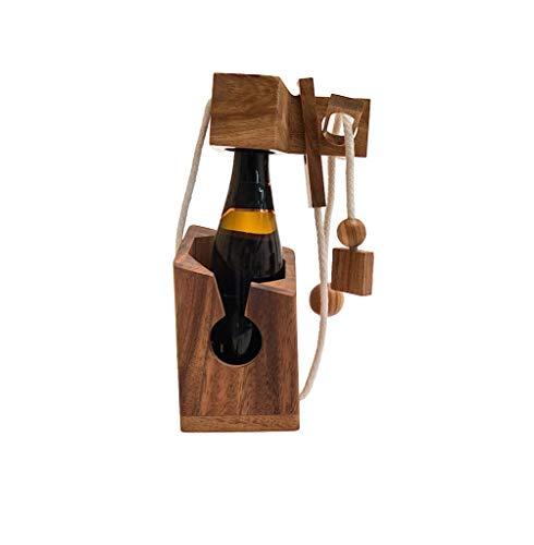 ROMBOL Flaschentresor - edler Tresor aus Holz für Bierflaschen 0,33 l (weißes Band) für 0,33 l und 0,5 l Bierflaschen (rotes Band), Bandfarbe:Weiss