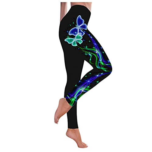 QTJY Leggings para Mujer Pantalones Deportivos de Yoga con Estampado de Mariposas Pantalones de Yoga Deportivos Ajustados con Cintura Alta y Levantamiento de Cadera A S