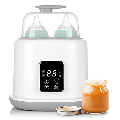 Calienta Biberones para 2 Botellas, 6 en 1 Multifuncionales esterilizador biberones a vapor, Calentador de Alimentos para bebés, Descongelador rápido, Pantalla LCD, Apagado Automático, Sin BPA
