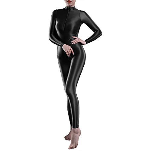 ranrann Damen Einteiler Overall Langarm Body Ganzkörper Catsuit mit doppelter Reißverschluss Ouvert Nachtwäsche Dessous Hosenanzug Stretch Schwarz One Size