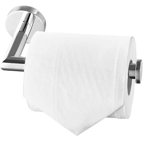 Paladinz - Porta rotolo di carta igienica in acciaio inox cromato, montaggio a viti, per bagno e cucina, rotondo, in acciaio inox 304, colore argento