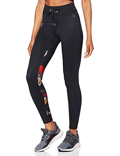 Marca Amazon - AURIQUE Super Soft Contrast Print - Mallas de entrenamiento Mujer, Negro (Black/Floral Print), 44, Label:XL