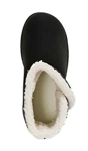 Dearfoams Women's Indoor/Outdoor Mixed Material Slipper Booties with Faux Shearling Lining, Black, Large / 9-10 B(M) US