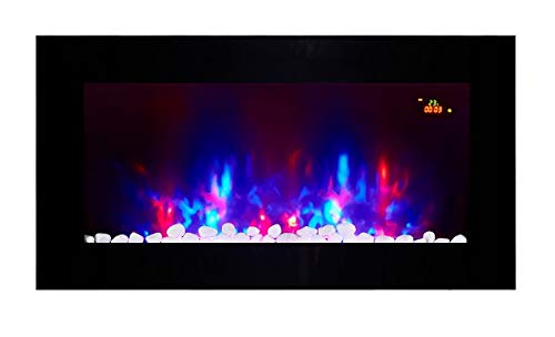 TruFlame 2020 LED Wall Mounted Flat Glass Electric Fire with Pebble and Log Effect and 7 colour side LEDs(90cm wide)
