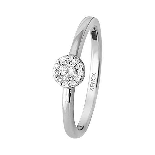Xenox Silber Sterling 925 Damen Ring mit Zirkonia - Xenox and Friends XS9114, Ringgröße (Durchmesser):48 (15.3 mm Ø)