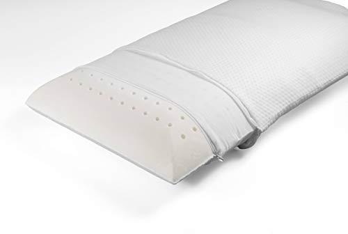 Hugs for Dreams - Almohada de espuma viscoelástica 100% con funda de algodón y plata, hipoalergénica, ergonómica, fabricada en Italia