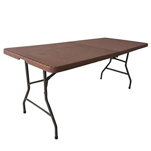 Folding chair Table Pliante de 6 Pieds, Tables de Camping Qui Se Replient Légères, Belle Table Pliante en Plastique, Table Pliante Hauteur Bar - Marron