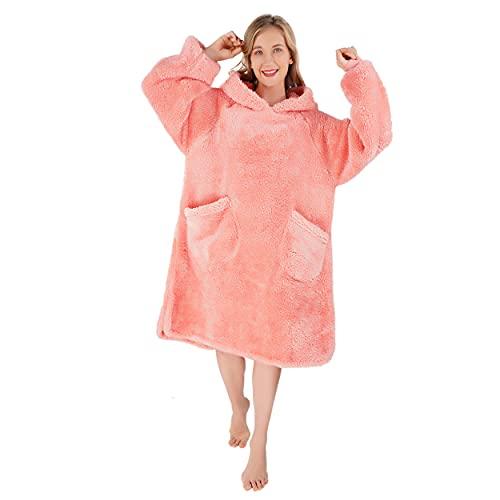 Winthome Sherpa - Felpa con cappuccio, per uomo e donna, Colore: rosa., M