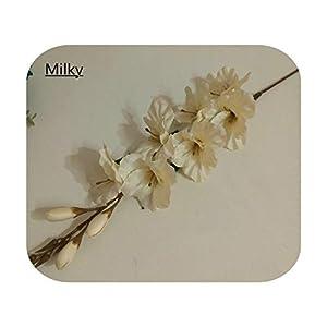Silk Flower Arrangements F-pump 70Cm 7 Head Artificial Gladiolus Flower Silk Orchid Plants Autumn Sword Orchid Decor Wedding Fake Flower Table Christmas Party-Milky-