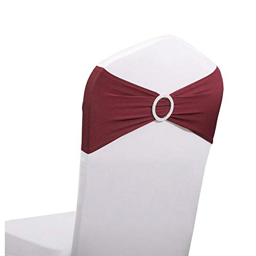 LOVWY 50 PCS Burgundy Spandex Chair Bands Stretch Chair Sashes Bows for Wedding Party Engagement Event Birthday Graduation Meeting Banquet Decoration (50 PCS, Burgundy)