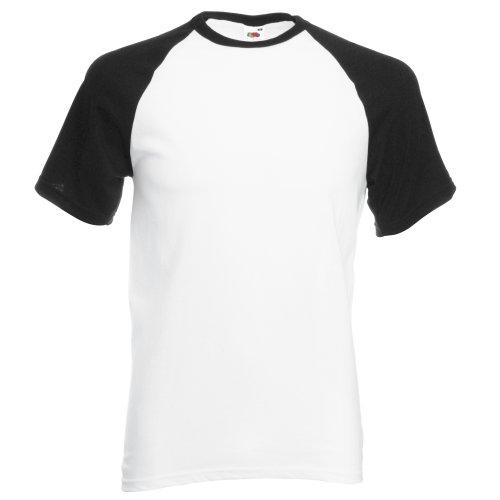Fruit of the Loom T-Shirt de Baseball à Manches Courtes pour Homme (XL) (Blanc/Noir)