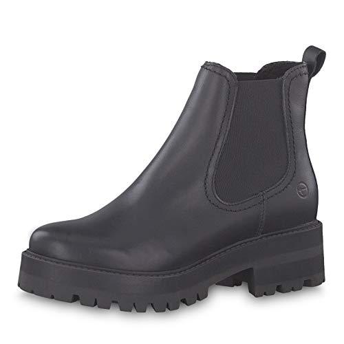 Tamaris Damen Stiefeletten 25445-23, Frauen Chelsea Boots, Women Woman Freizeit leger Stiefel halbstiefel Stiefelette,Black Leather,38 EU / 5 UK