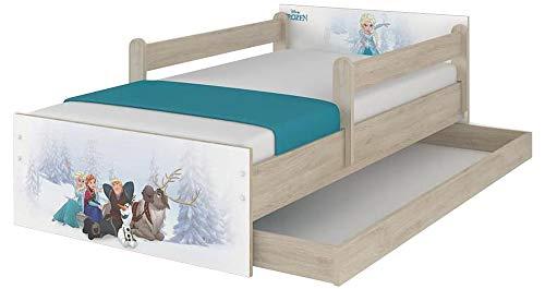 Disney Lit pour enfant avec protection anti-chute, tiroir et matelas (80 x 160 cm, La Reine des Neiges)