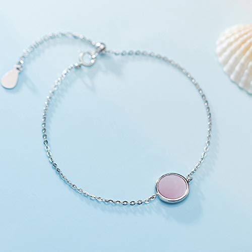 HJPAM 925 sterling zilveren armband dames ronde kast wit/roze verstelbare armband Damesmode fijne sieraden