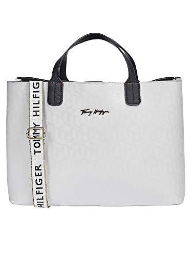 Tommy Hilfiger Damen Handtasche Tasche Iconic Tommy Satchel Weiß AW0AW09957-YAF