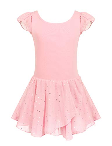 Arshiner Girls Ruffle Sleeve Ballet Dance Dress Tutu Skirted Leotard, 4-5 Years, Ballet Pink